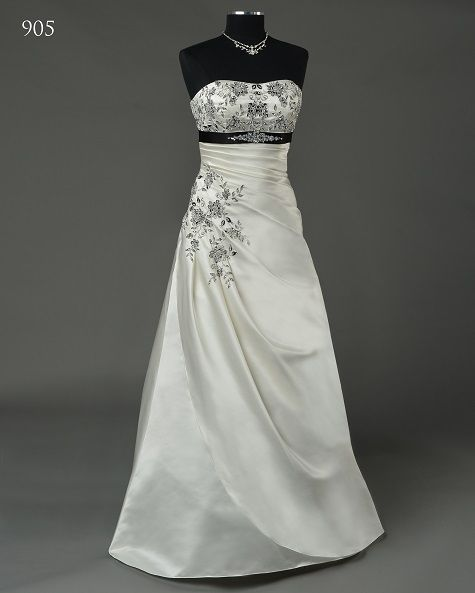 Bridalane  wedding gown style 905, embroidery available in more than 100 colours, also available in solid white or ivory