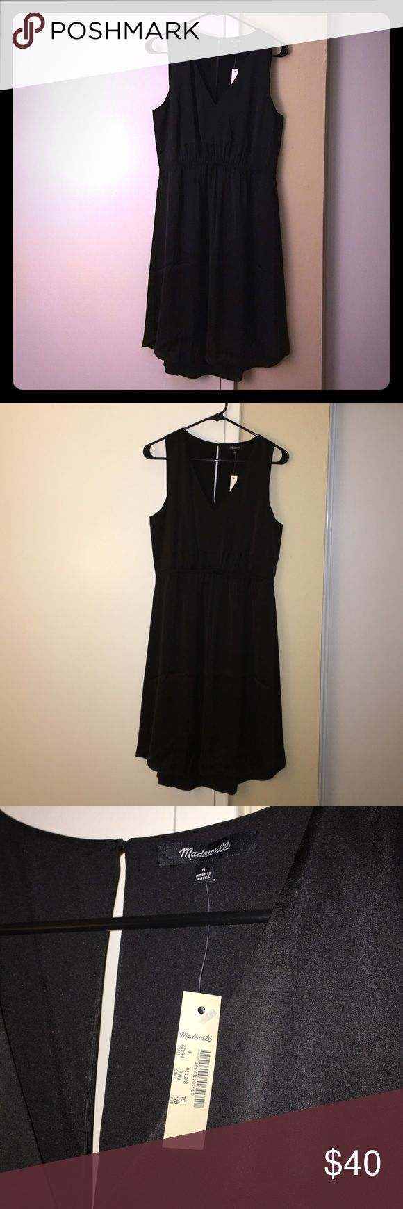 """Madewell Night Out Dress New with tags! A little black dress with a keyhole back. Waisted, falls 38"""" from highest point of bodice; lined, dry clean, import. Bought it at final sale price but turns out it doesn't quite fit me. My photos don't do it justice so I added screengrabs from the website. Madewell Dresses Midi"""