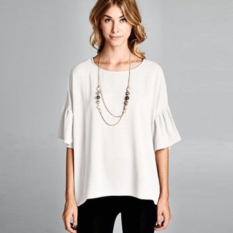 Relaxed Fit, Wide Bell Flutter Sleeves Hi-Low Top