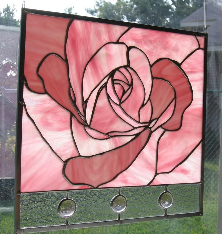 Pink Rose Stained Glass Panel by Nanantz