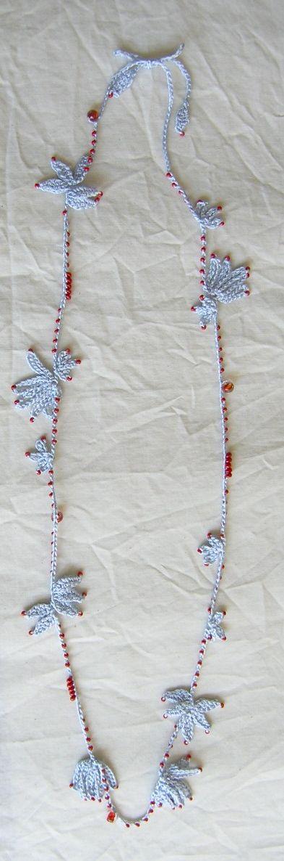 pale blue long crochet necklace...adorable!