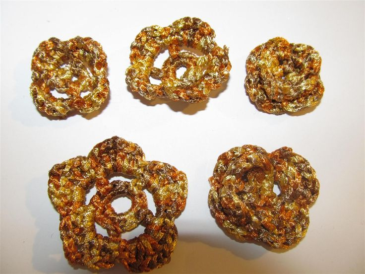 Handmade crochet flowers 38mm (5 pcs) Craft supplies Jewelry materials