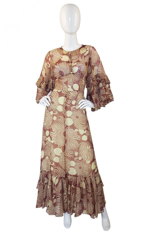 1960s Ruffled Gina Fratini Maxi Dress