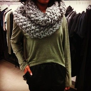 cozy in our grey knit infinity scarf and linen scoop top, both on sale! #ootd