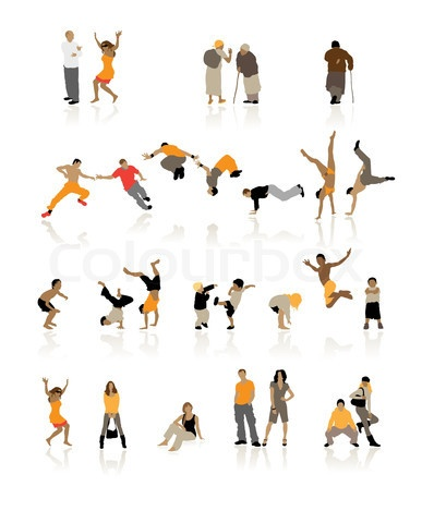 Stock vector of 'Detailed silhouettes of people: fun children, young couples, sport teens, old age'