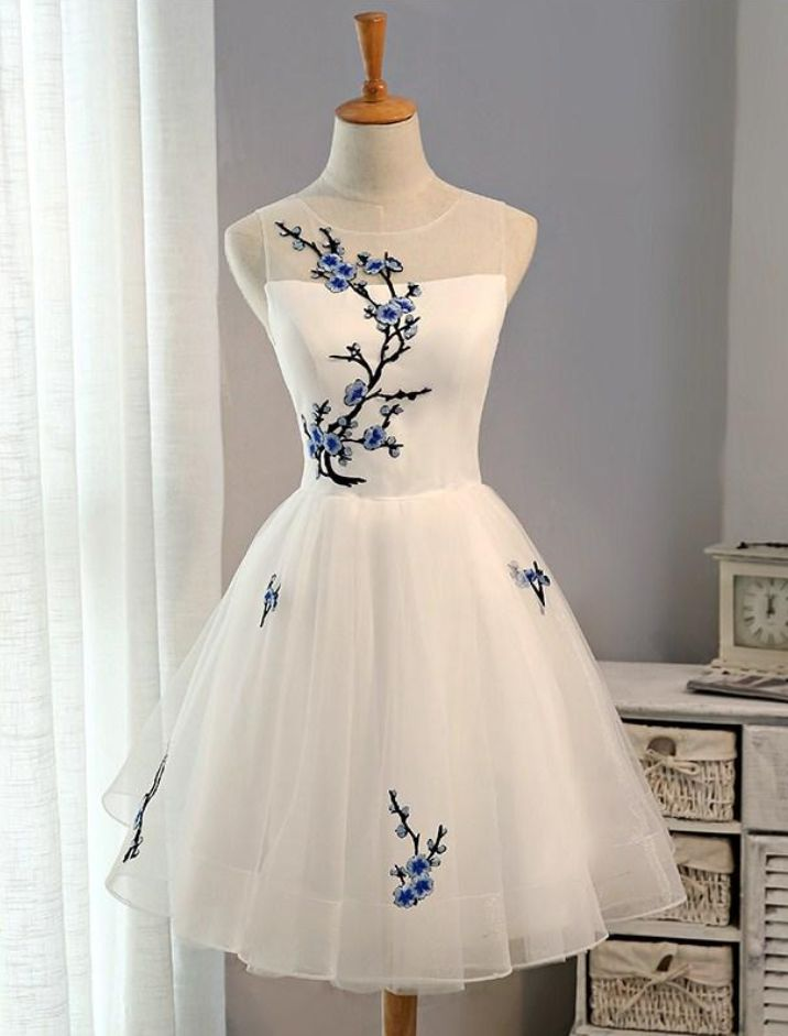 White Short Homecoming Dress with Embroidery, Knee Length #Short Homecoming Dress #HomecomingDresses #Short PromDresses #Short CocktailDresses #HomecomingDresses