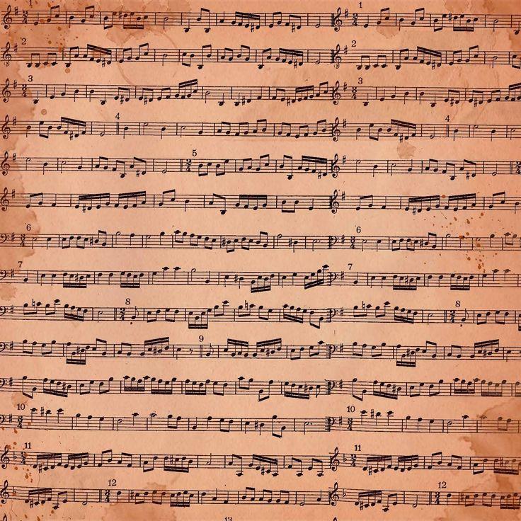 FREE Digital Scrapbook Paper - Pink Grungy Sheet Music