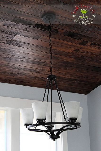 Would love to find a place for this pallet ceiling somewhere in the house. Office maybe? From...Our Small-Town Idaho Life: the house that we built