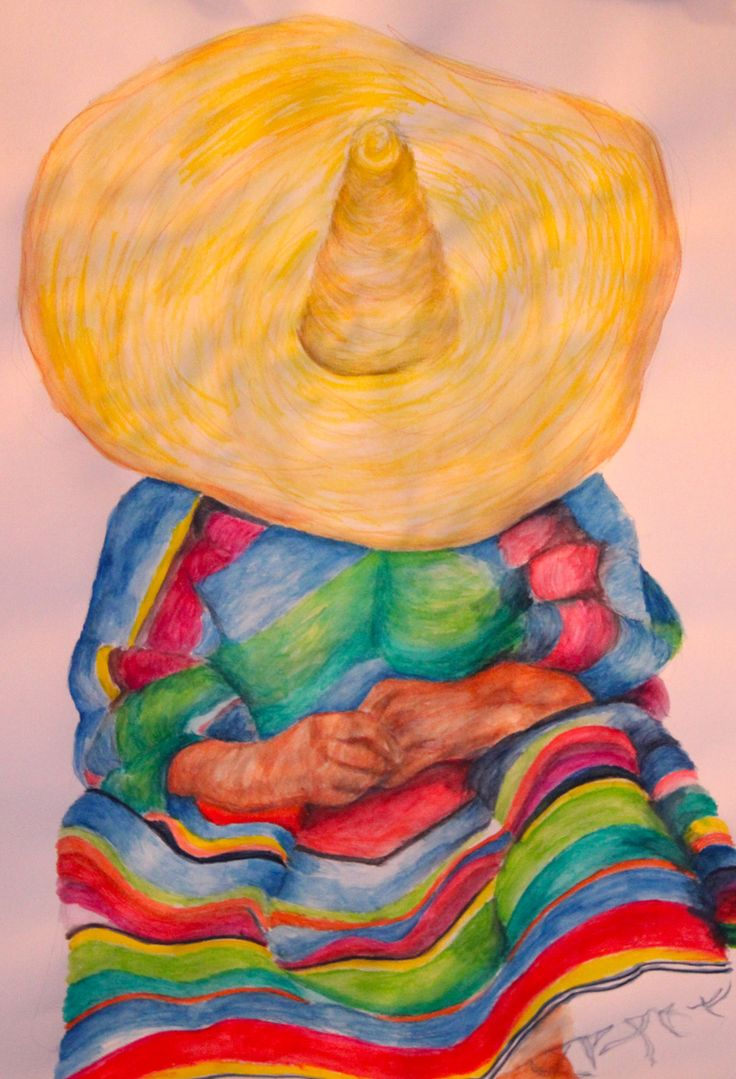 Jenna's Sleeping Mariachi Man / Watercolor Pencil on Paper