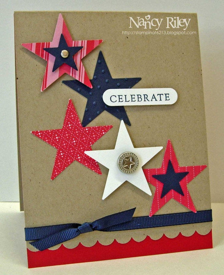 """Stamps: Fundamental Phrases  Paper: Real Red Prints DP, Kraft, Night of Navy, Real Red, and Whisper White CS  Ink: Night of Navy  Embellishments: Star Designer Brad, Silver Brad, Night of Navy 1/4"""" Grosgrain Ribbon  Tools: Scallop Border Punch, Star Punch, Large Star Punch, Word Window Punch, Perfect Polka Dots Textured Impressions Folder  Supplies: Stampin' Dimensionals"""