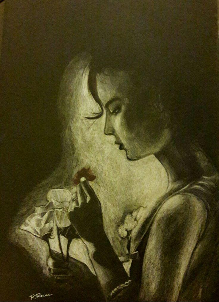 Le rose ... matita bianca su cartoncino nero