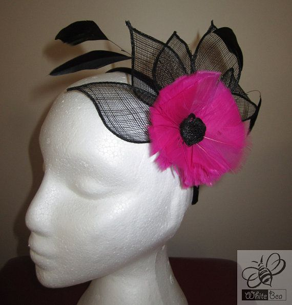 Black fascinator with hot pink feather flower Elena by WhiteBea