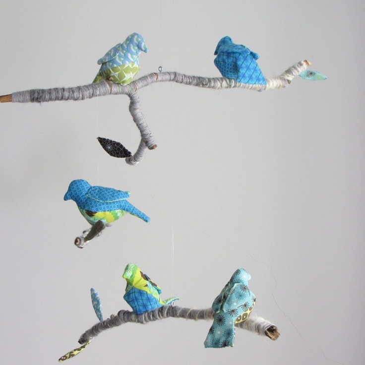 Custom bird mobile for nursery diy crib mobiles for Bird mobiles for nursery