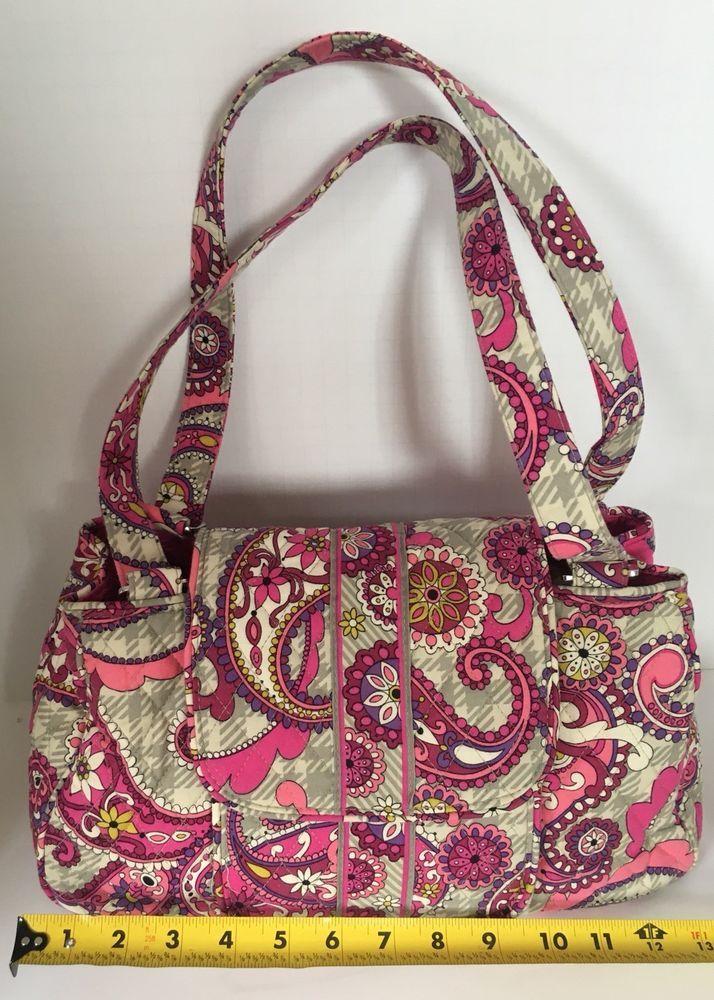 dda7b0788c69 EUC Vera Bradley Very Berry Pink Paisley Fabric Shoulder Purse Handbag 2  handles  fashion