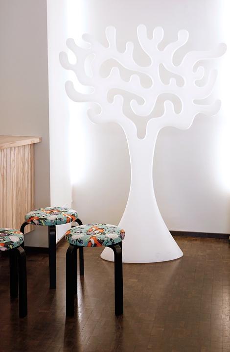 The Jewellery Tree by Eero Aarnio & Artek E60 stool by Alvar Aalto with Ville Savimaa pattern for Hotel Helka