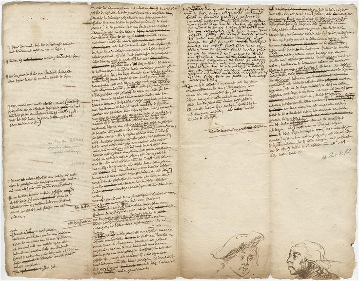 Schetsjes door Constantijn van Renesse van mannenkopjes op ontwerp van een rekest aan de Staten -Generaal over het recht van ingebod. - 1663