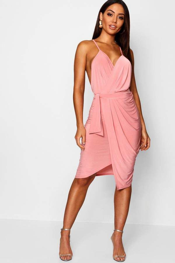1fc3320de066 boohoo Wrap Detail Plunge Slinky Midi Dress | CLOTHES in pink in ...