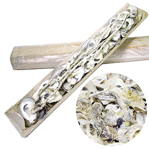 DEKOMUSCHELN - MIX im Bambusholz sch�ne echte Deko - Muscheln Austernschalen zum Dekorieren & Basteln (1er Set HELL)