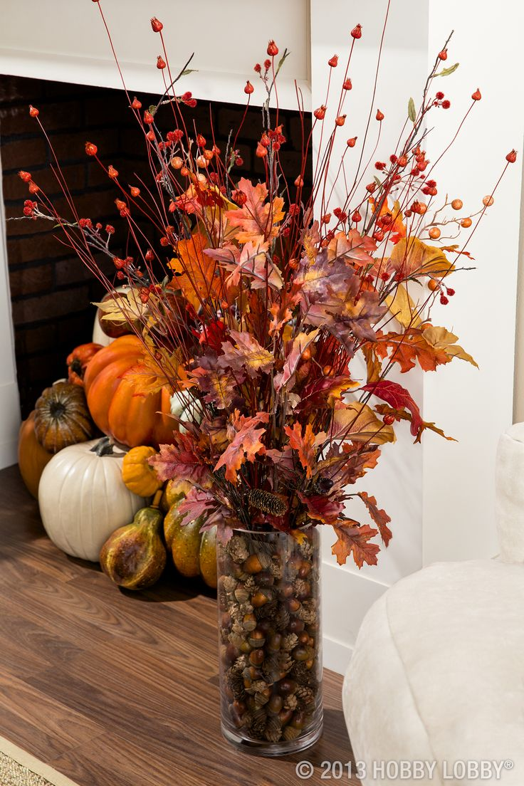 Love the Autumn colors outside? Bring them inside. We suggest a vase bursting with autumn stems and leaves.  Add pumpkins to empty corners or inside an unused fireplace for a little extra special something.
