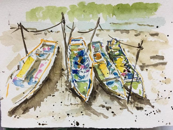 Practice to sketch loosely with watercolor from photo taken at the Sekinchan fishing village. Still more to learn..#sketchoftheday #sketchbook #sketches #watercolor #urbansketchers #art #penandink #penandwash