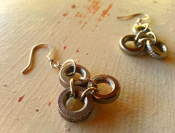 Upcycled earrings made from recycled bike parts by MoabBagCompany, $14.00