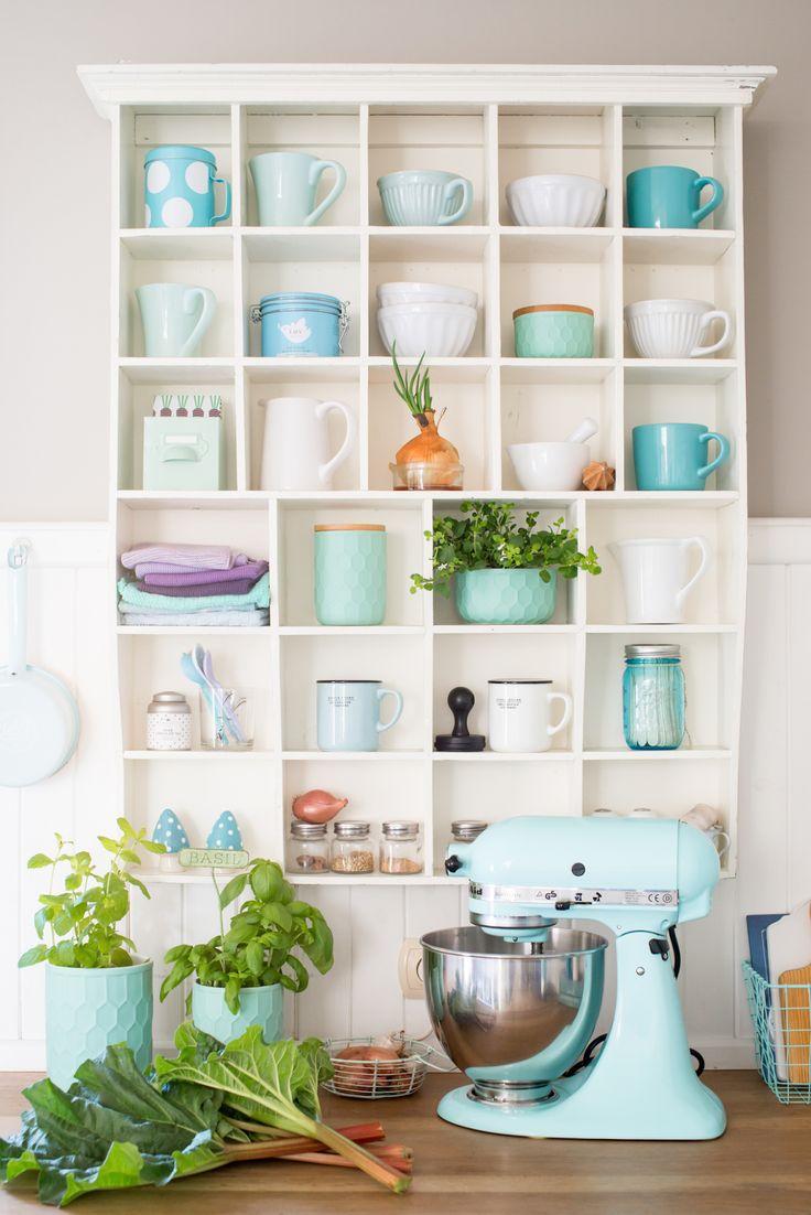 Minty House Photo, minty kitchen, kitchen, KithenAid, rhubarb, kitchen trinkets, spring, green love, Bloomingville, Ib Laursen