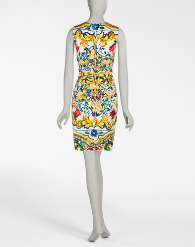 PRINTED SILK CHARMEUSE SHEATH DRESS - Dolce&Gabbana Online Store - Winter 2016