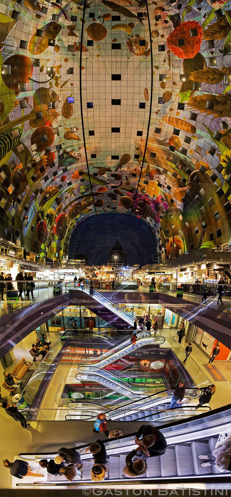 The Markthal, a residential & office building with a market hall underneath, in Rotterdam, Netherlands.