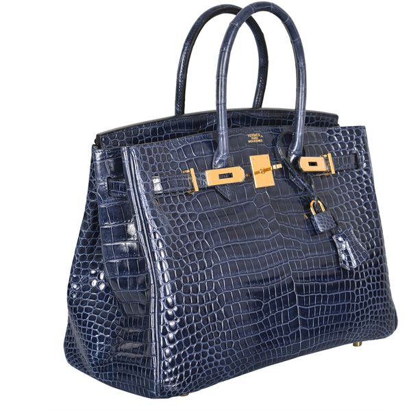 HERMES BIRKIN BAG 35CM BLUE ABYSSE CROCODILE GOLD HARDWARE at 1stdibs ❤ liked on Polyvore featuring bags, handbags, purses, bolsas, hermes, handbags purses, blue purse, crocodile handbags, man bag and hermes bag