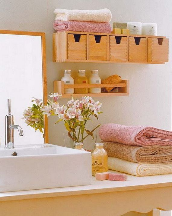 Love the wooden box shelf idea. Great small space storage!  Will have to keep in mind for downstairs bathroom.