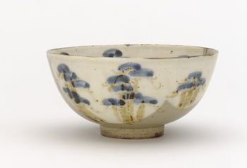 Japanese Art | Kenzan-style food bowl with design of pine trees | F1899.36
