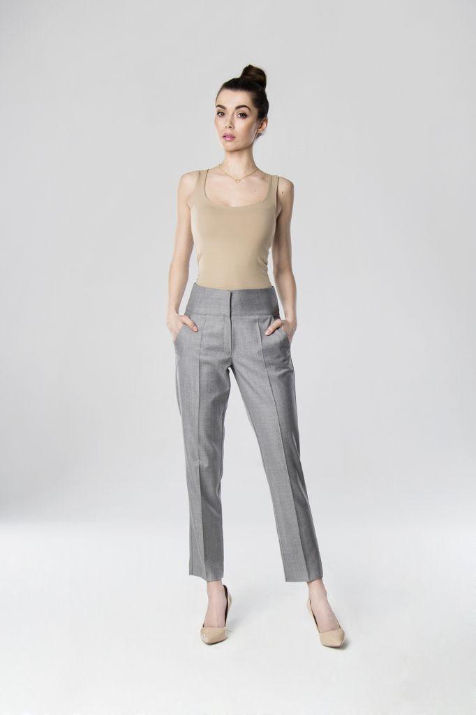 Damskie eleganckie spodnie z wysokim stanem szare more by less