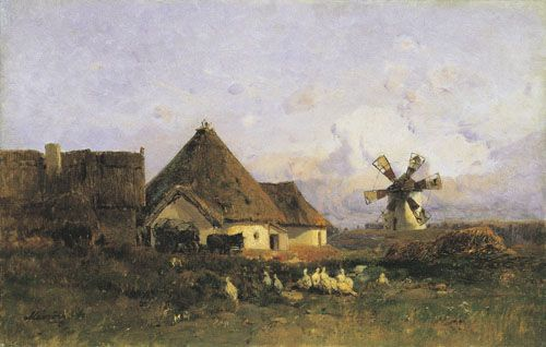 Mészöly, Géza Landscape with Windmill Detail of Szentiván  1877-1882