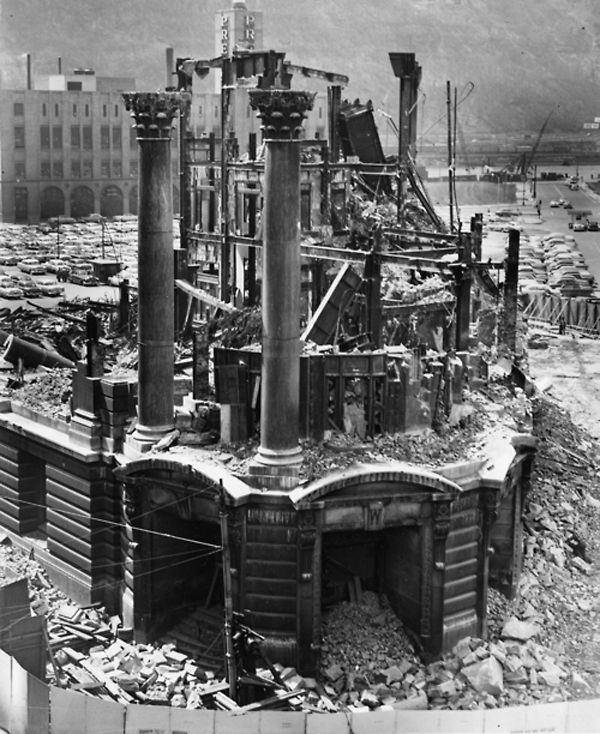 "Image via The Digs ∞   The demolition of the Wabash Terminal began in October, 1953. The Pittsburgh Press wrote, ""With roof off, the workmen swarmed in and out of offices. Using crowbars and sledge hammers they pried and smashed."" A flatiron train station built in 1904, the Wabash was part of robber baron Jay Gould's attempt to build a transcontinental railroad empire. It was torn down to make way for a Gateway Center office building."