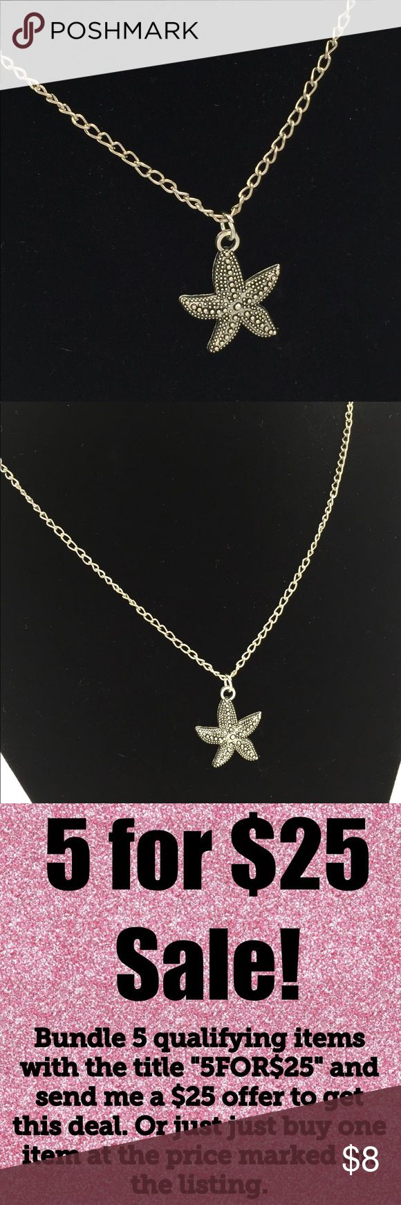 "🎉5/$25🎉 Starfish Necklace Starfish Necklace Silver tone Chain approximately 20"" Matching earrings in other listing.   See my other listings with 5 for $25 SALE and save on a bundle! Lots of clothes, makeup and new boutique items. Great for Christmas gift giving or stocking stuffers. I love accepting offers. Jewelry Necklaces"