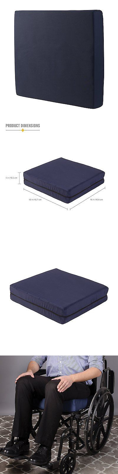 Accessories: Duro-Med Foam Seat Wheelchair Cushion With Cover Navy 4 Inch X 16 Inch X 18 Inch BUY IT NOW ONLY: $32.39