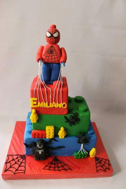 Torta Spiderman lego 100 % Comestible.