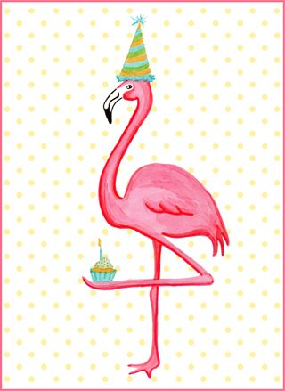 Pink flamingo and cupcake birthday card. Carte de fête de flamant roses en cupcake