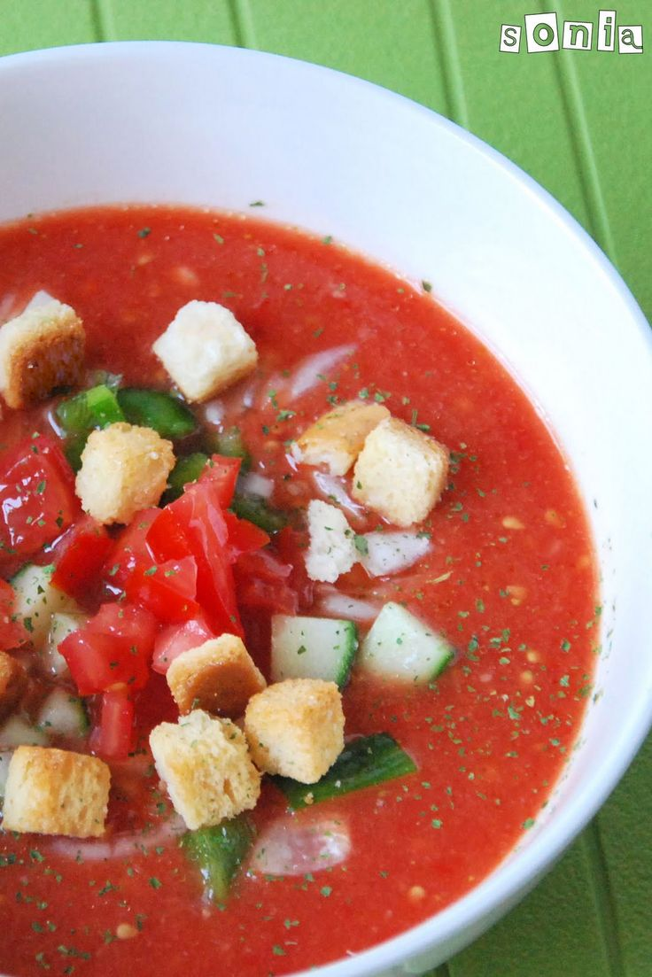 Gazpacho 3 slices bread, crusts 2.25 pounds tomatoes, peeled, seeded 1 red pepper, diced 2 cloves garlic 1/2 vegetable bouillon cube olive oil wine vinegar salt & pepper sugar