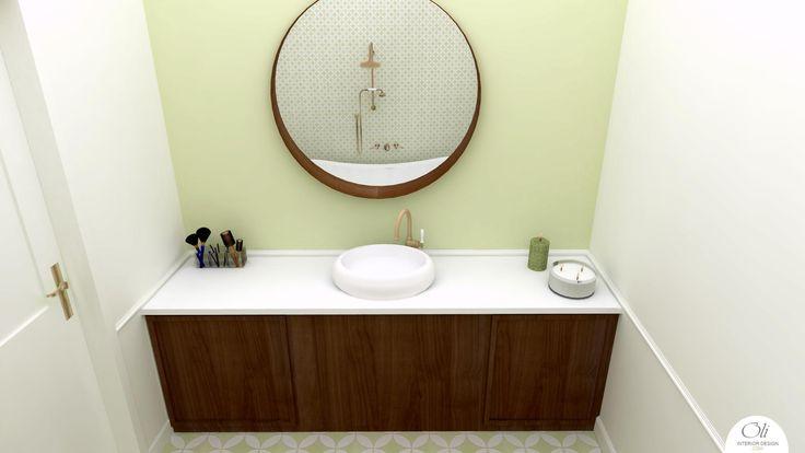 #Bathroom 3D E-Design (Visualisation) by Oli Interior Design Studio #retro   #onlinedesigner
