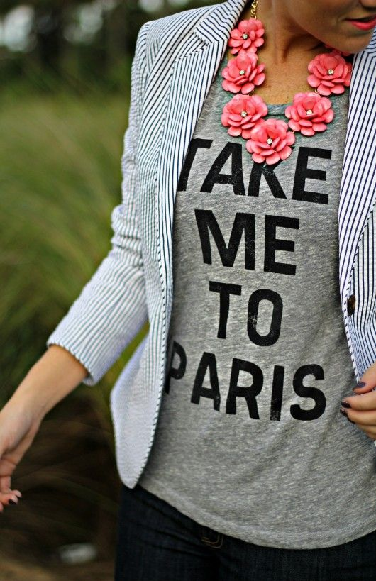 take me to paris tee and seersucker blazer #southernstyle