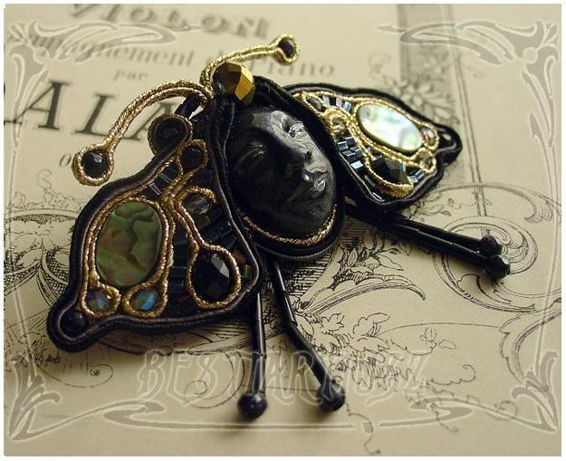 bestiARTiusz: Art Nouveau Butterfly (broszka maska / soutache br...