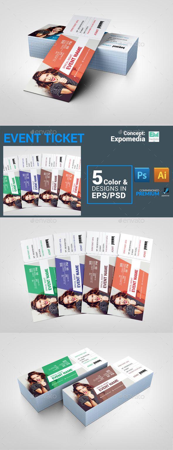 Ticket Template PSD, Vector EPS, AI #design Download: http://graphicriver.net/item/ticket/14232776?ref=ksioks