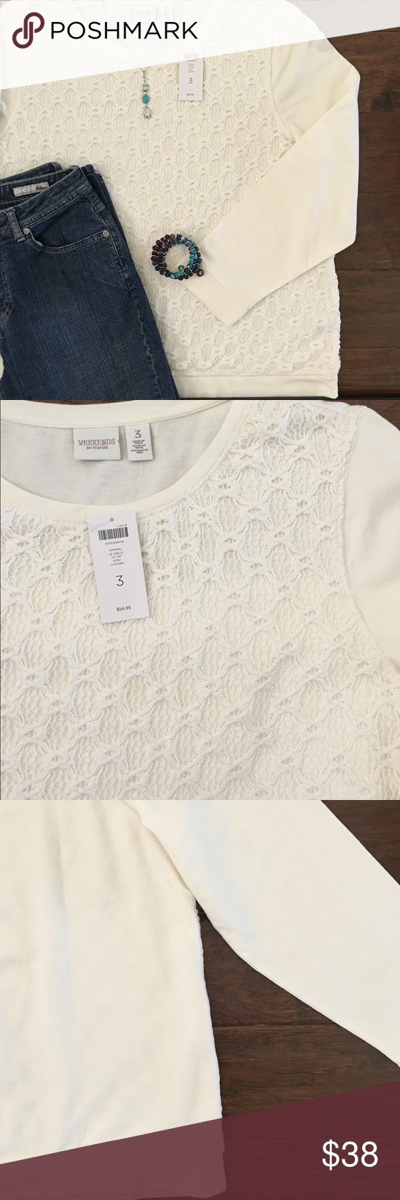 "Chicos Front Lace Overlay Sweatshirt Sz 3 / XL NWT Weekends by Chicos cream lace overlay top. Comfy like a sweatshirt but kicked up a notch with a feminine cotton lace overlay.   27"" long 22"" across (underarm to underarm) 100% Cotton Chico's Tops Sweatshirts & Hoodies"