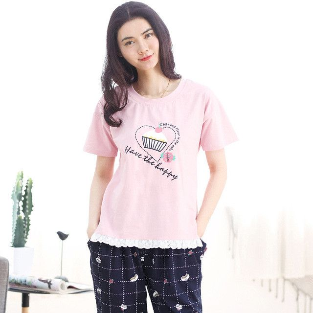 Women pajamas set summer short sleeve pyjamas cotton ...