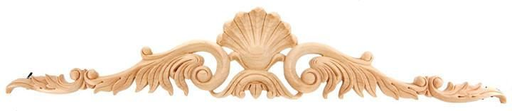 "CorbelPlace.com | Applique / 5-3/4""H X 31""W X 5/8""D - wood rosettes appliques, wood appliques onlays, architectural wood carving, wooden inlay, oak rosettes, star appliques, cherry wood cabinet,rose appliques 