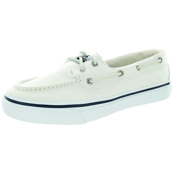 Sperry Top-Sider Men's Bahama 2-Eye Boat Shoe ($63) ❤ liked on Polyvore featuring men's fashion, men's shoes, men's loafers, shoes, white, mens white shoes, mens canvas shoes, mens sperry topsiders, mens white boat shoes and mens topsiders