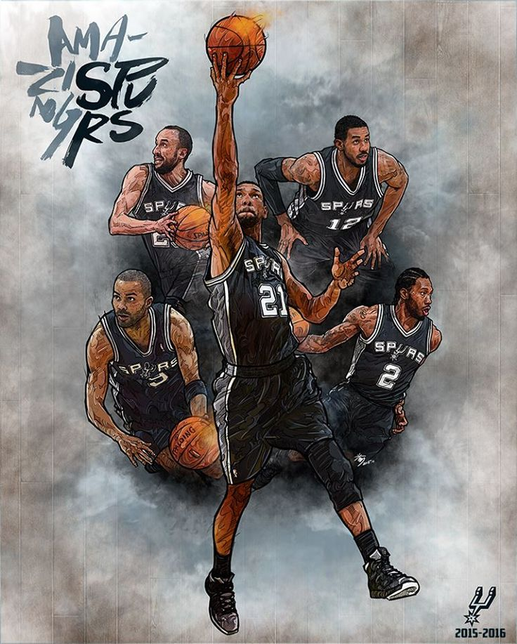 Tim Duncan, Kawhi Leonard, Tony Parker, Manu Ginobili and LaMarcus Aldridge aka the Amazing Spurs illustrated by artist Min-suk Kim from South Korea.