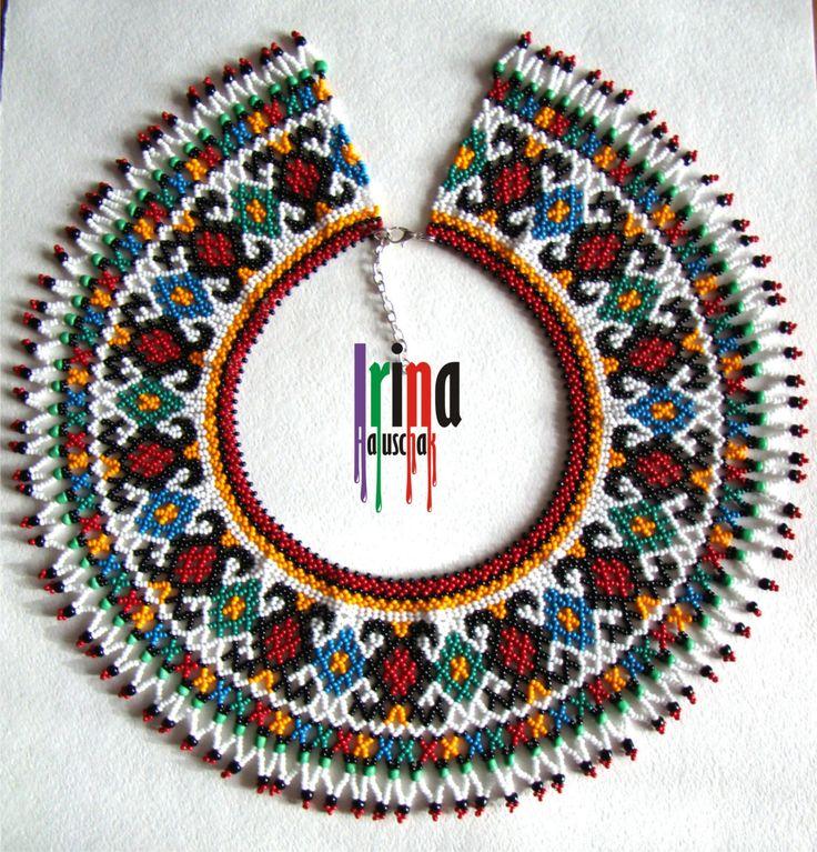 Ukrainian traditional necklace. Beaded collar. Silyanka by IrinaHaluschak on Etsy