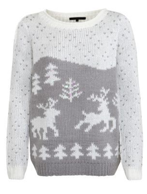 New Look - Charcoal Scenic Reindeer Knitted Jumper